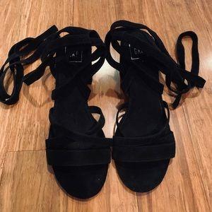 Gap black suede sandals with two inch block heel